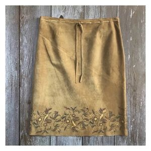 Express Suede Floral Embroidered Pencil Skirt